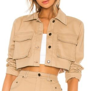 Union Cropped Jacket in Khaki h:ours